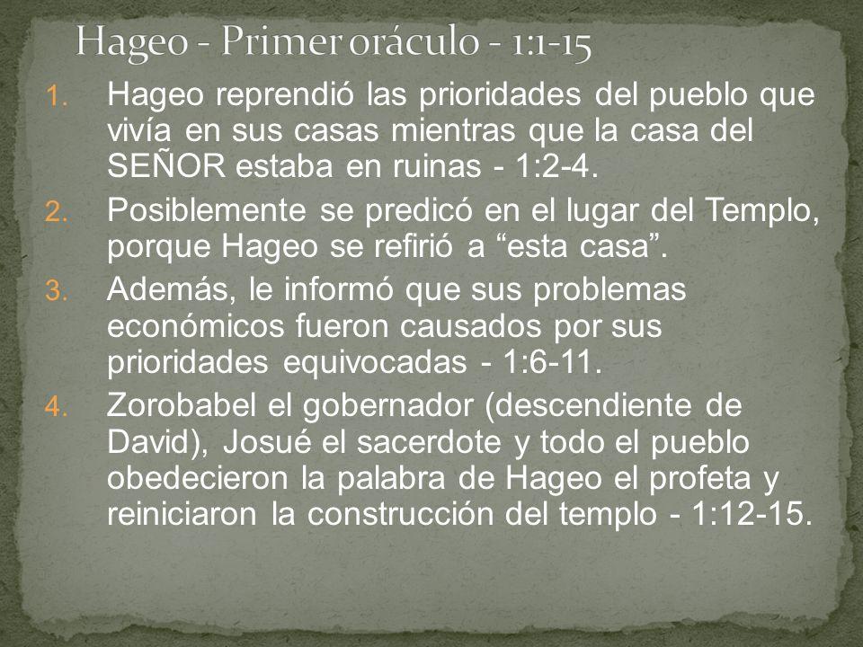 Hageo - Primer oráculo - 1:1-15