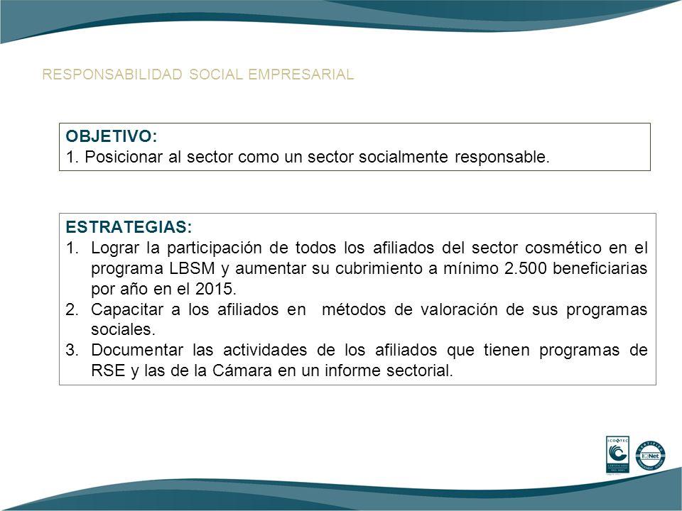 1. Posicionar al sector como un sector socialmente responsable.