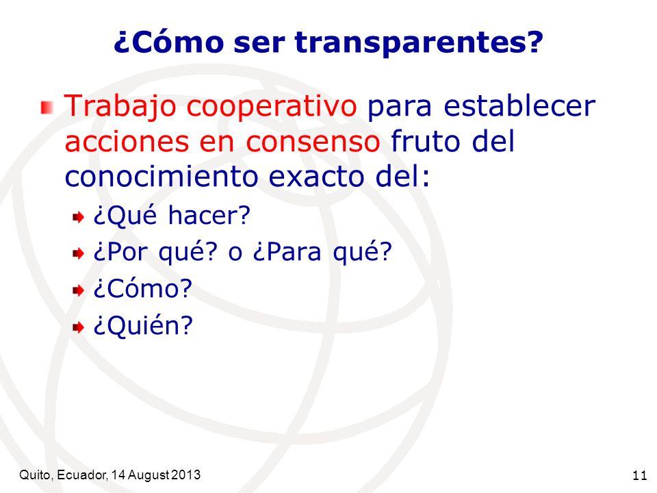 ¿Cómo ser transparentes