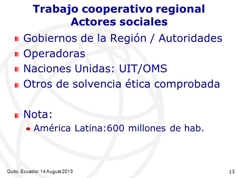 Trabajo cooperativo regional Actores sociales