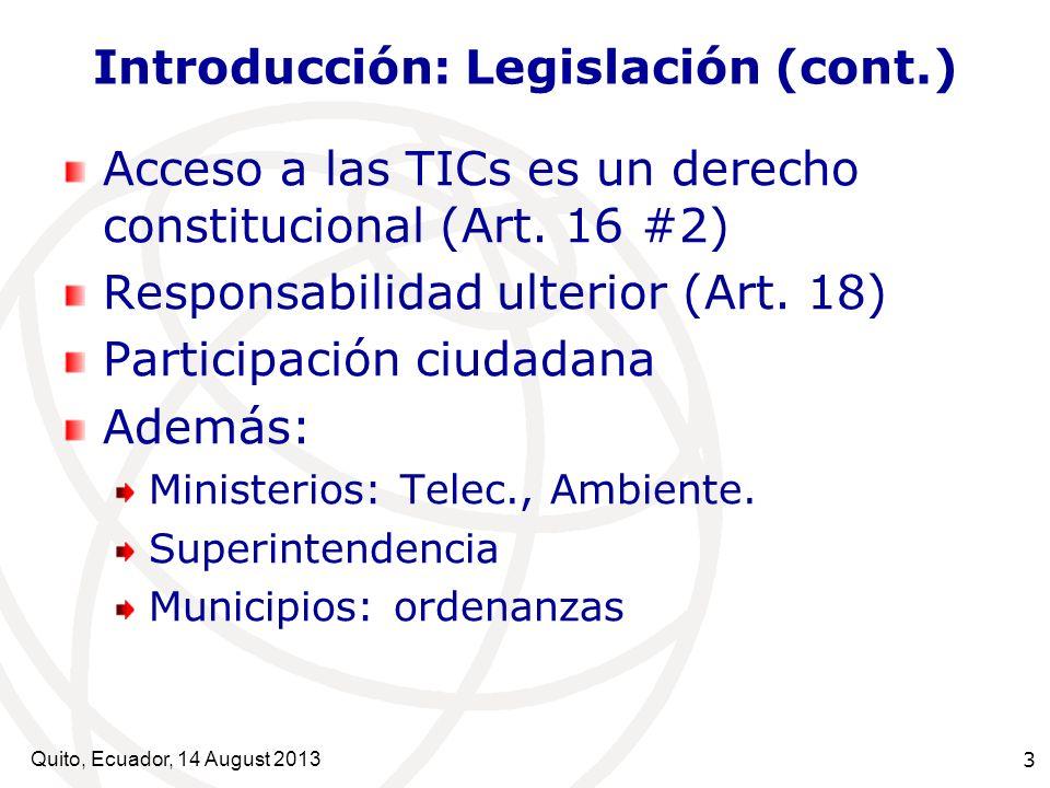 Introducción: Legislación (cont.)