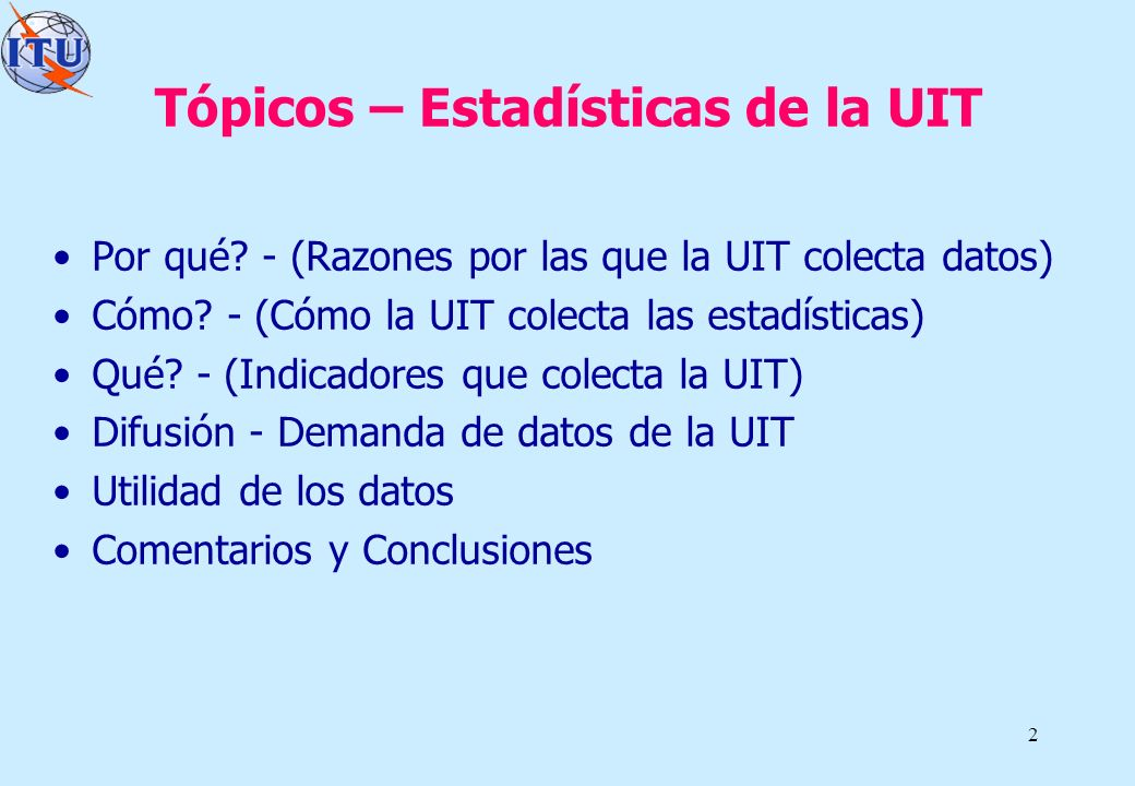 Tópicos – Estadísticas de la UIT