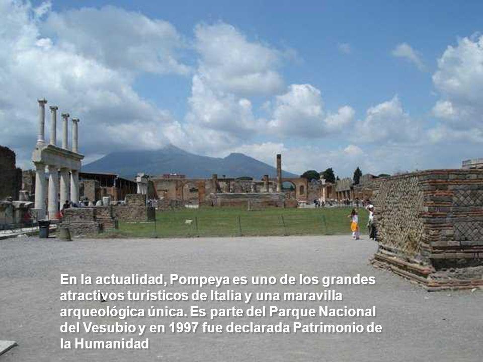 En la actualidad, Pompeya es uno de los grandes atractivos turísticos de Italia y una maravilla arqueológica única.