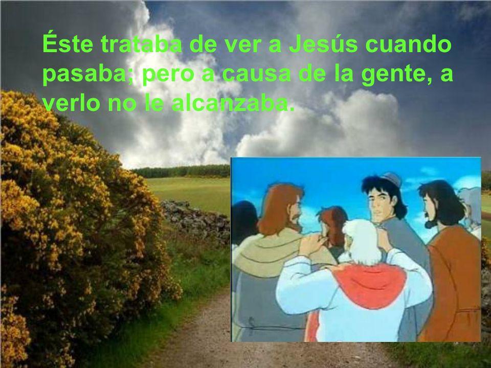 Éste trataba de ver a Jesús cuando pasaba; pero a causa de la gente, a verlo no le alcanzaba.