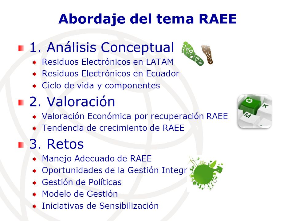Abordaje del tema RAEE 1. Análisis Conceptual 2. Valoración 3. Retos