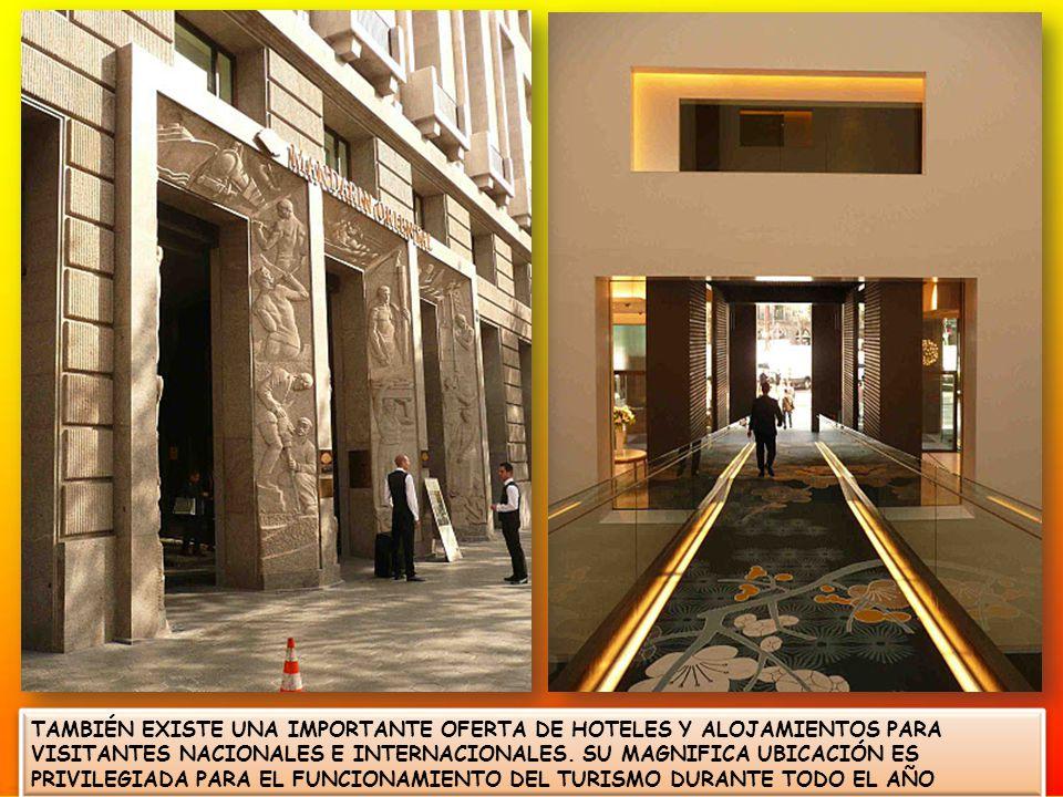 TAMBIÉN EXISTE UNA IMPORTANTE OFERTA DE HOTELES Y ALOJAMIENTOS PARA VISITANTES NACIONALES E INTERNACIONALES.