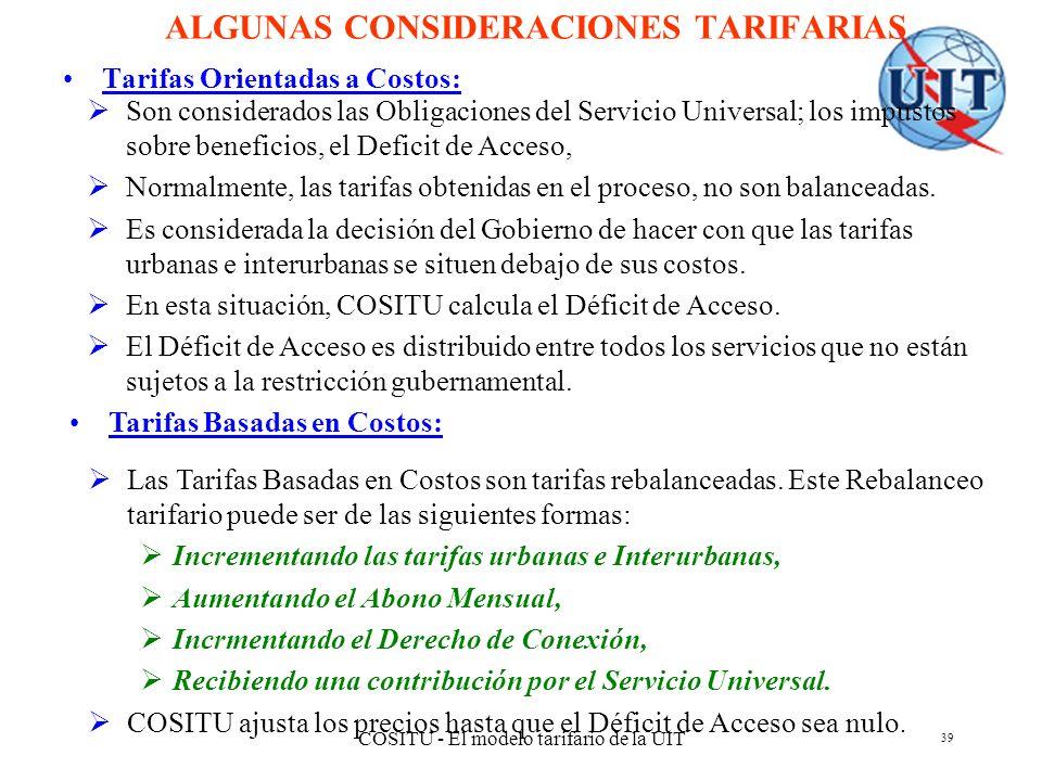 ALGUNAS CONSIDERACIONES TARIFARIAS