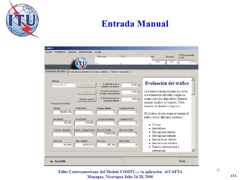 Entrada Manual Taller Centroamericano del Modelo COSITU, y su aplicación al CAFTA Managua, Nicaragua Julio 24-28, 2006.