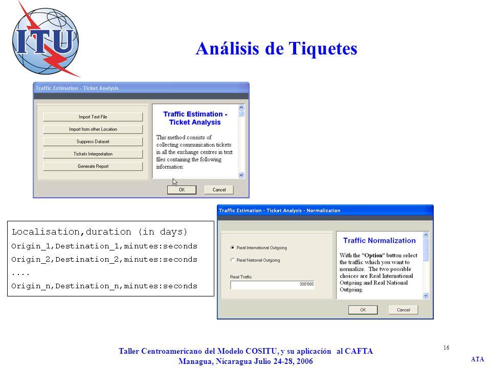 Análisis de Tiquetes Taller Centroamericano del Modelo COSITU, y su aplicación al CAFTA Managua, Nicaragua Julio 24-28, 2006.