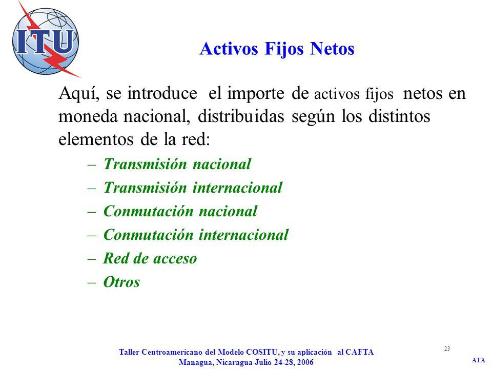 Activos Fijos Netos Aquí, se introduce el importe de activos fijos netos en moneda nacional, distribuidas según los distintos elementos de la red:
