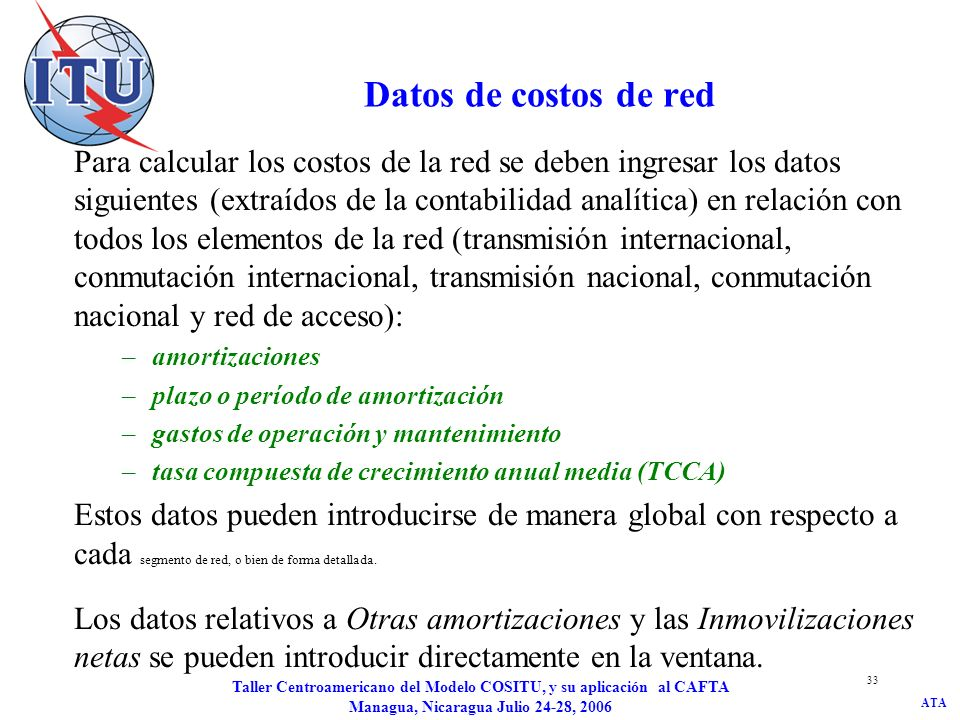 Datos de costos de red