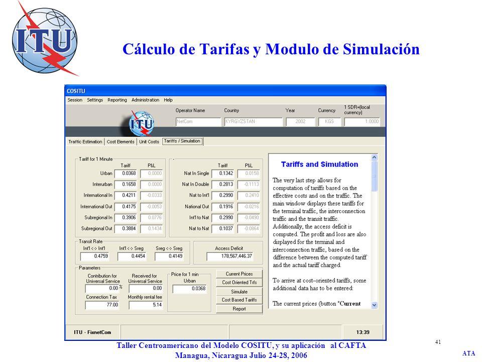 Cálculo de Tarifas y Modulo de Simulación