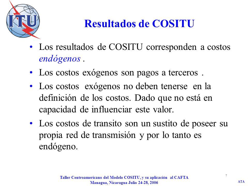 Resultados de COSITU Los resultados de COSITU corresponden a costos endógenos . Los costos exógenos son pagos a terceros .