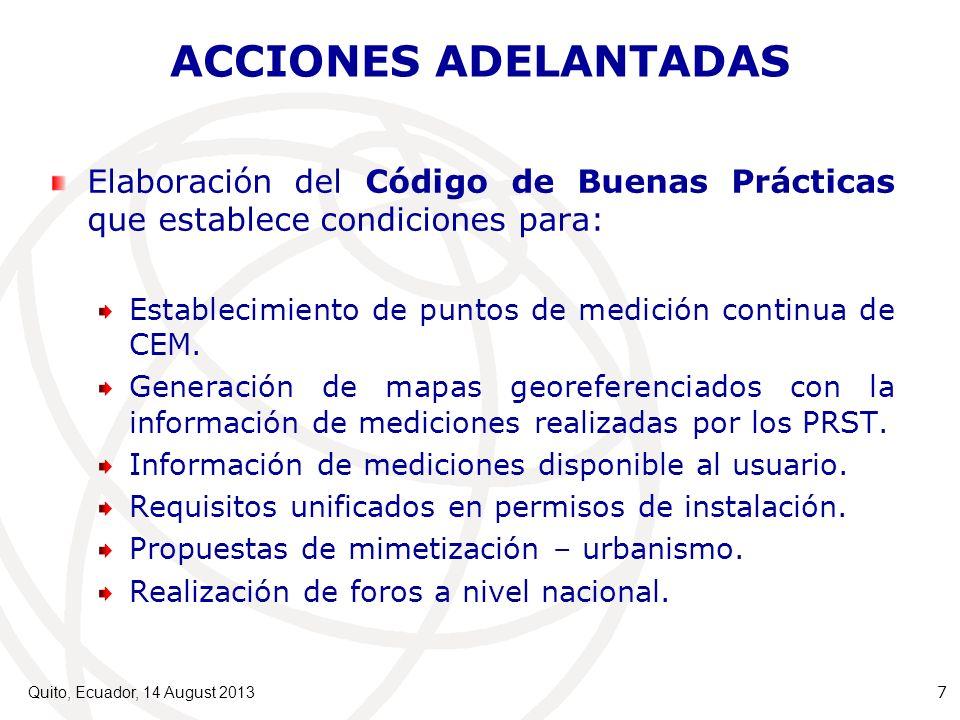 ACCIONES ADELANTADAS Elaboración del Código de Buenas Prácticas que establece condiciones para:
