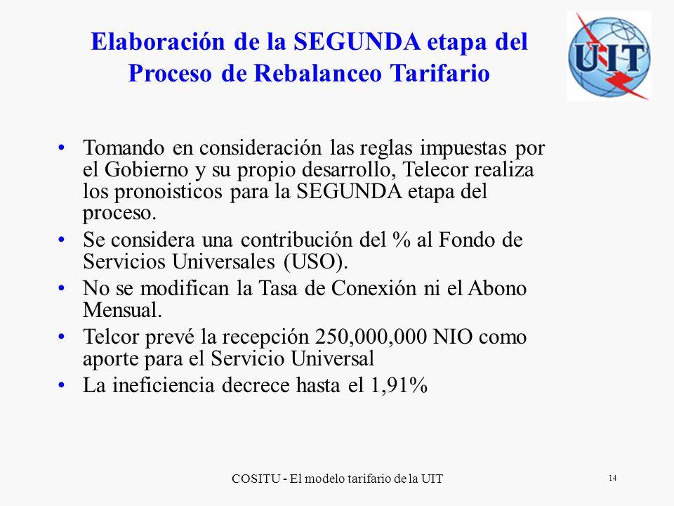 Elaboración de la SEGUNDA etapa del Proceso de Rebalanceo Tarifario