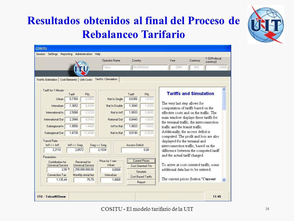 Resultados obtenidos al final del Proceso de Rebalanceo Tarifario