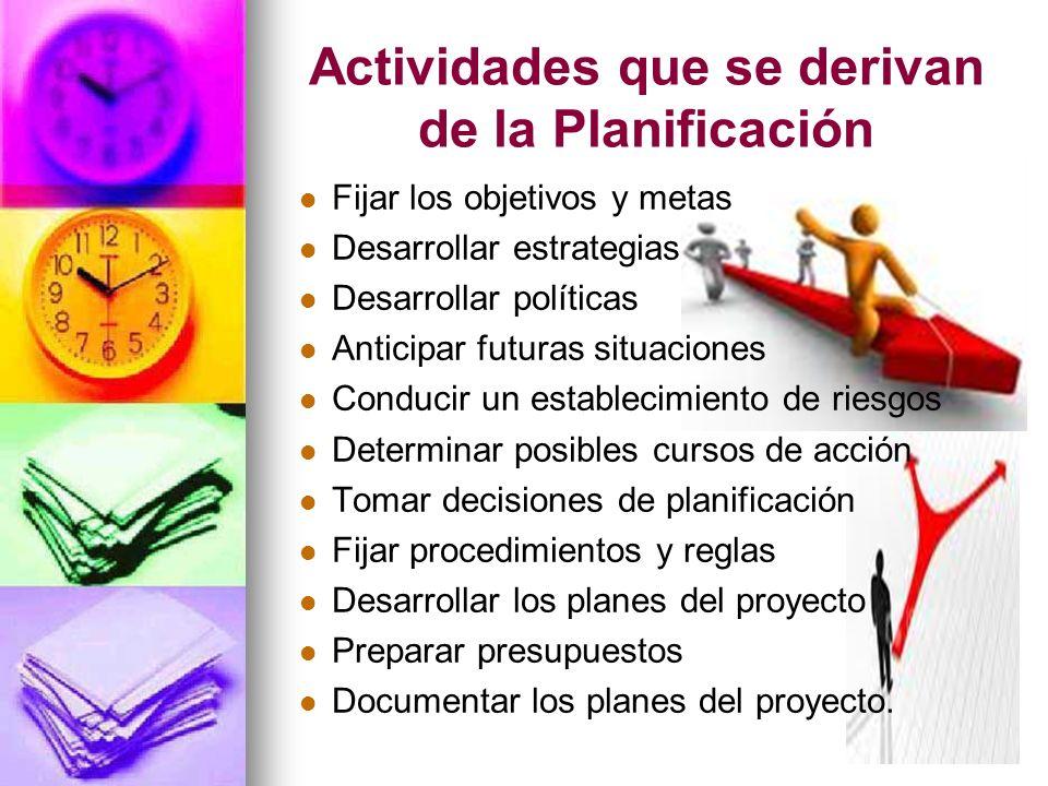 Actividades que se derivan de la Planificación