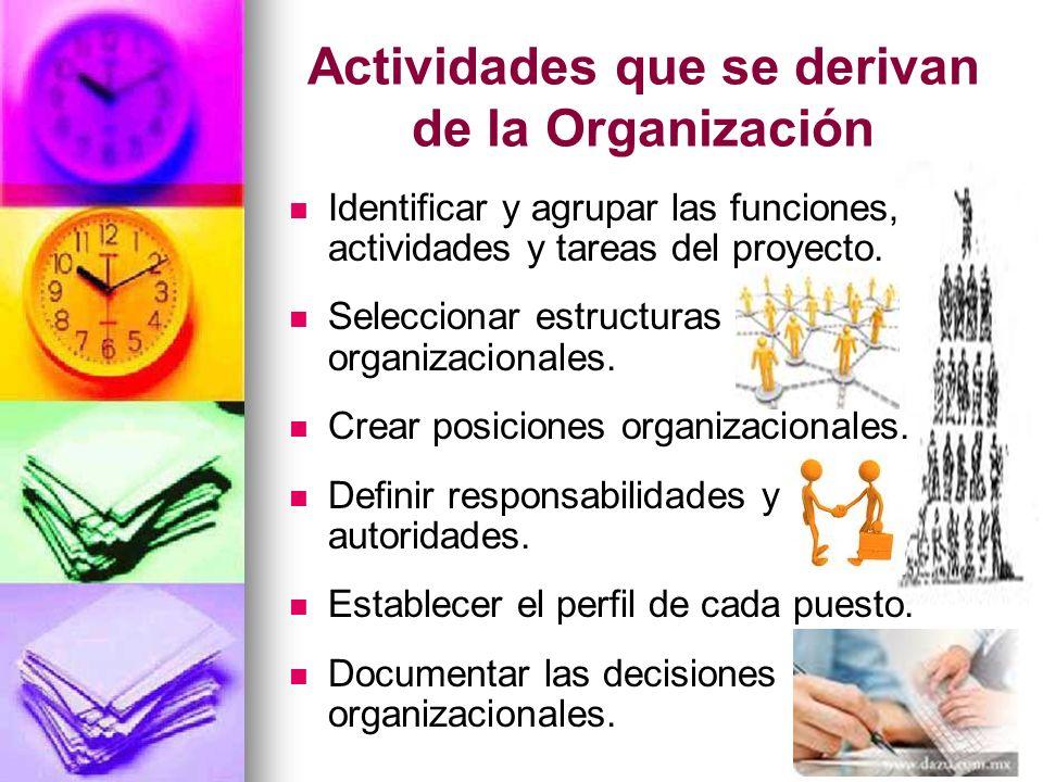 Actividades que se derivan de la Organización