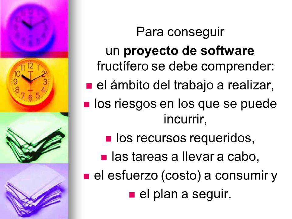 un proyecto de software fructífero se debe comprender: