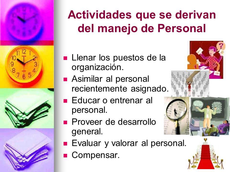 Actividades que se derivan del manejo de Personal