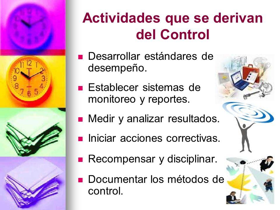 Actividades que se derivan del Control