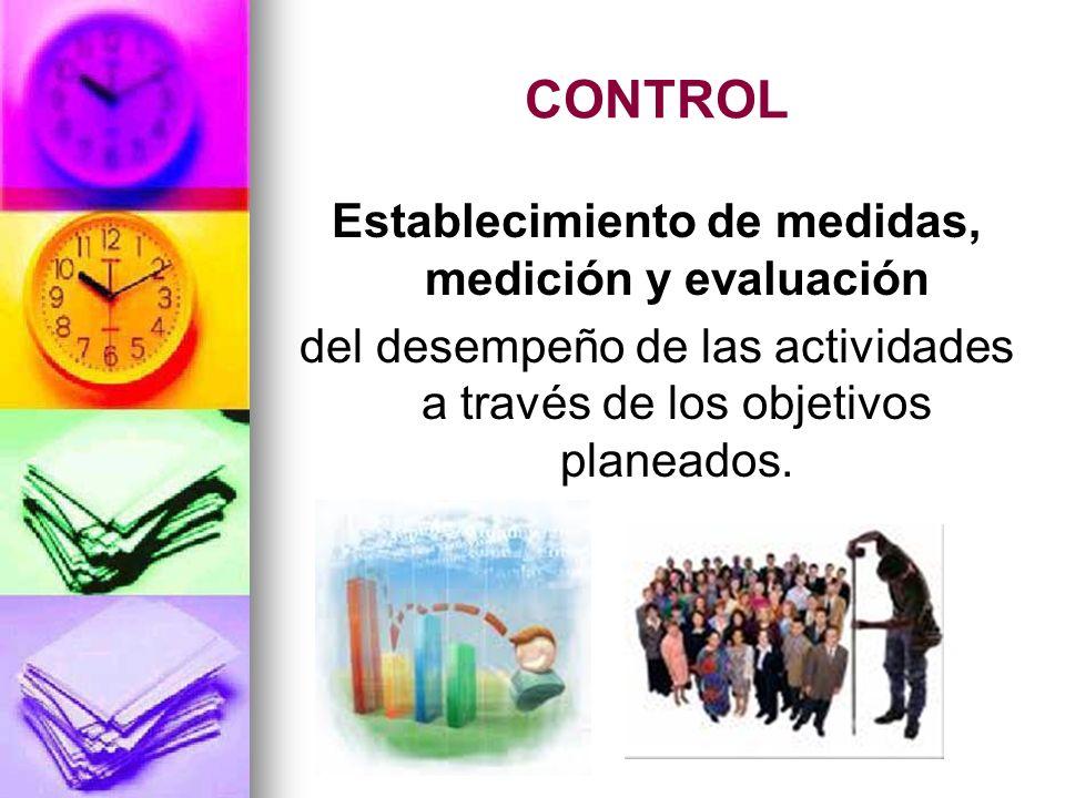 CONTROL Establecimiento de medidas, medición y evaluación