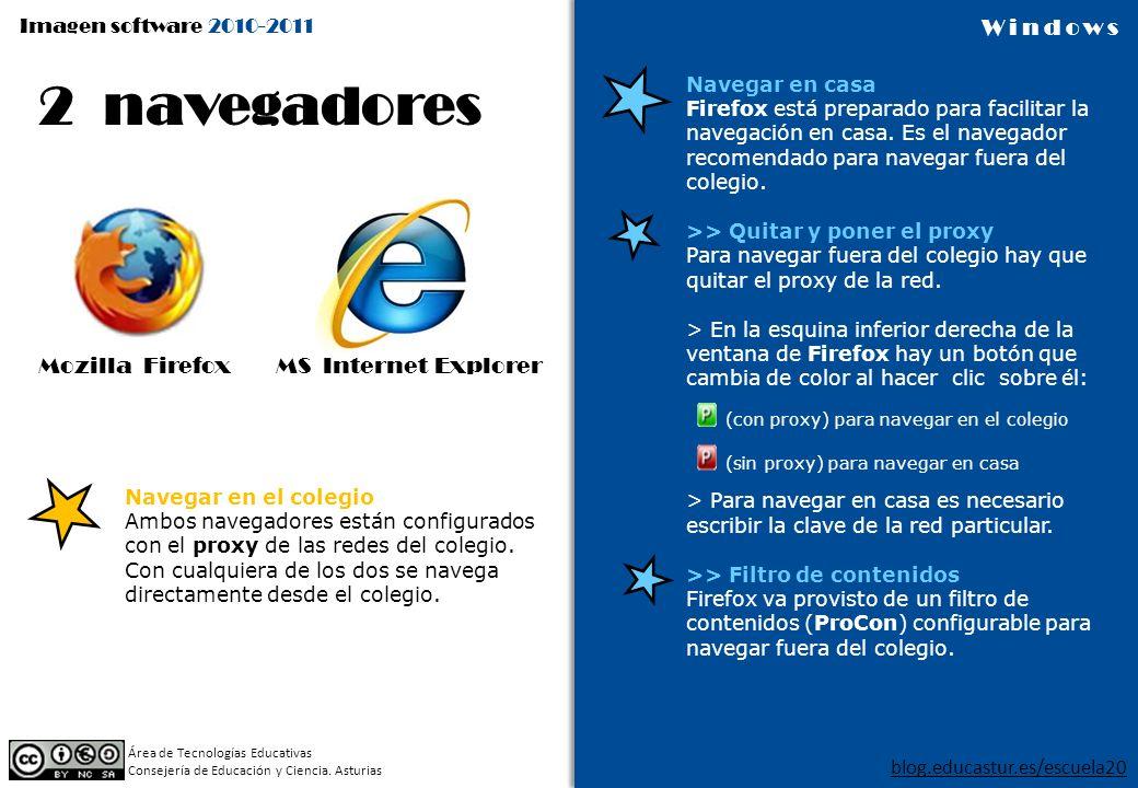 2 navegadores Mozilla Firefox MS Internet Explorer Navegar en casa