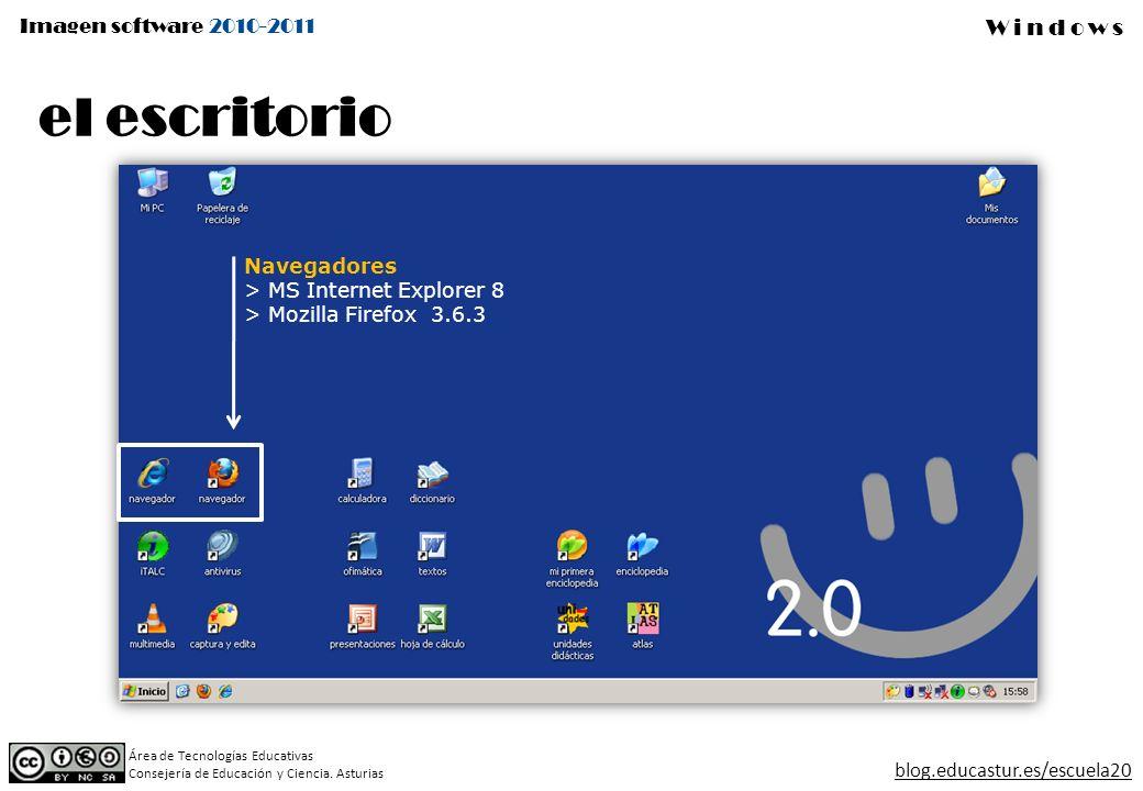 el escritorio Navegadores MS Internet Explorer 8 Mozilla Firefox 3.6.3