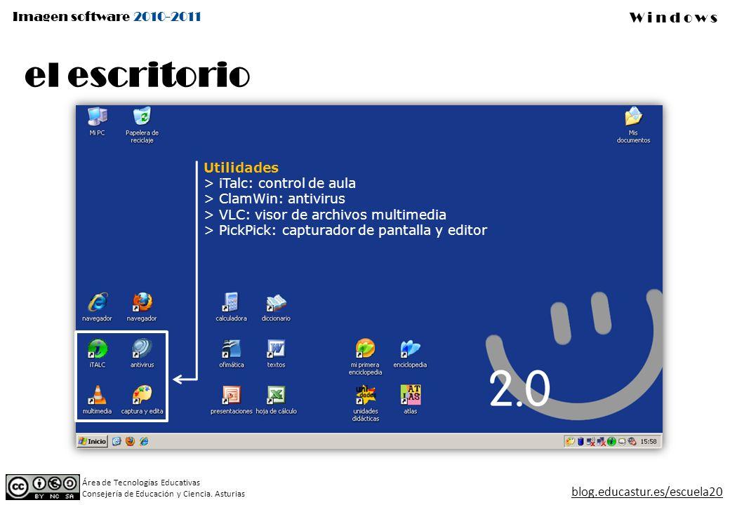 el escritorio Utilidades iTalc: control de aula ClamWin: antivirus