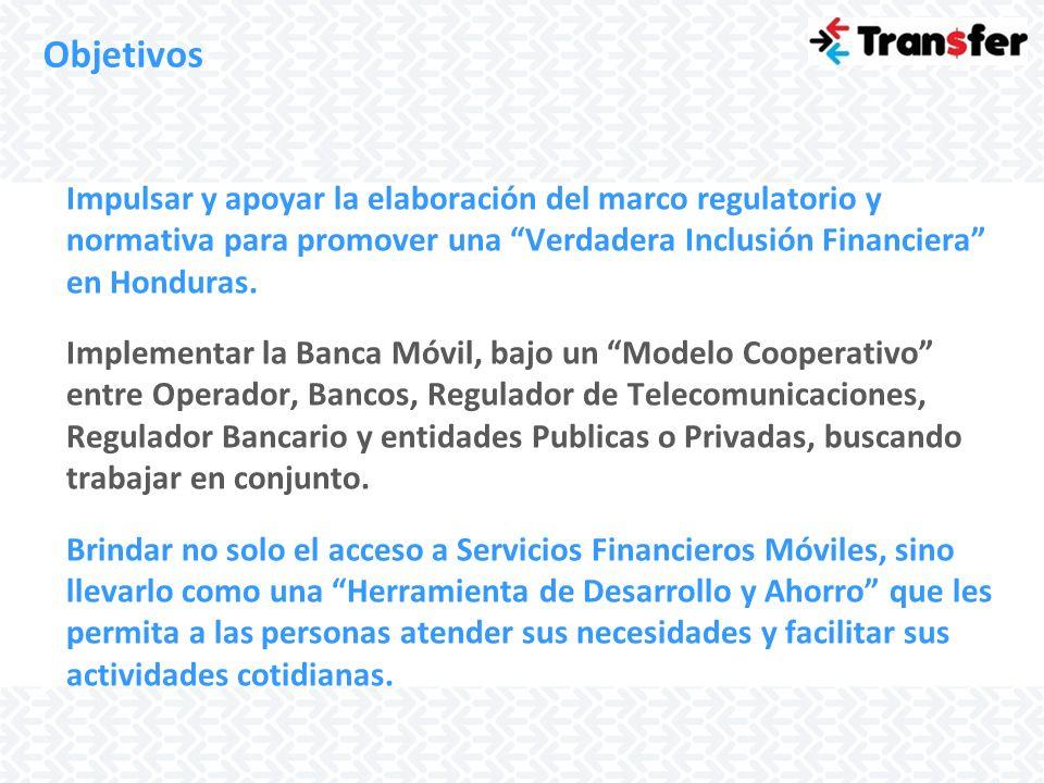 Objetivos Impulsar y apoyar la elaboración del marco regulatorio y normativa para promover una Verdadera Inclusión Financiera en Honduras.