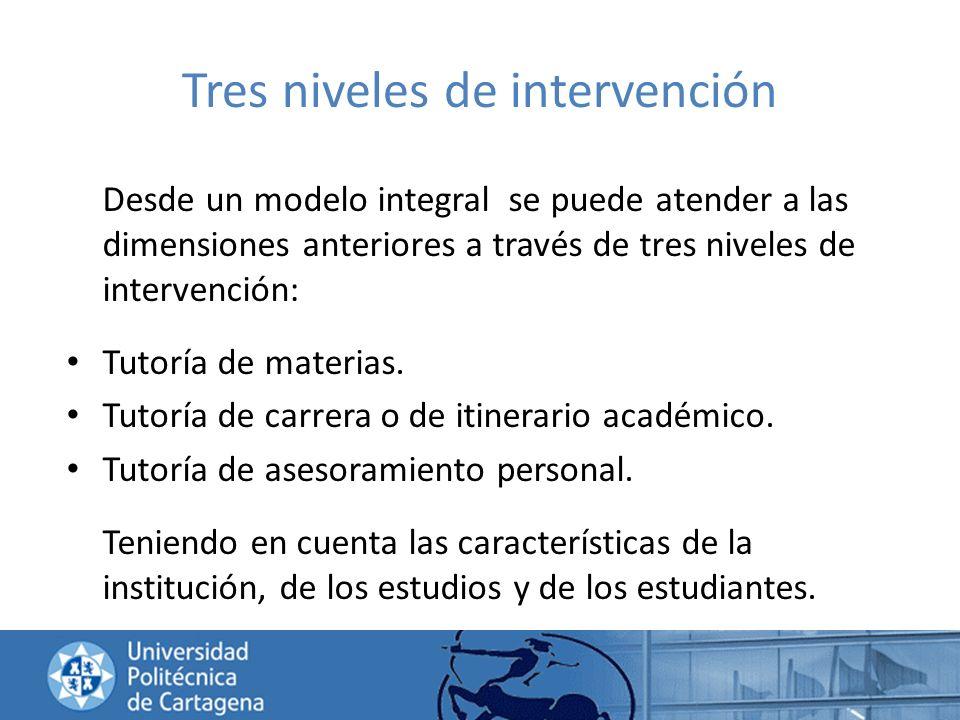 Tres niveles de intervención