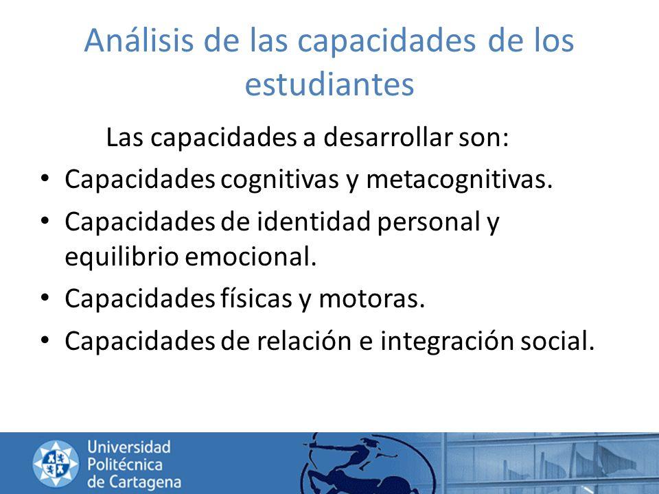 Análisis de las capacidades de los estudiantes