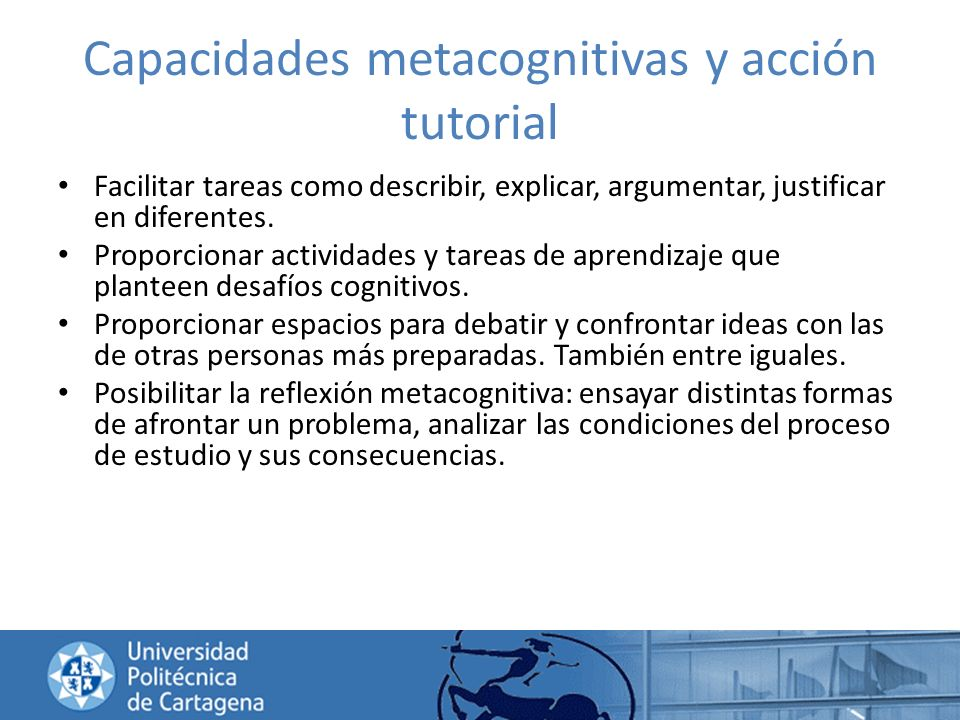 Capacidades metacognitivas y acción tutorial