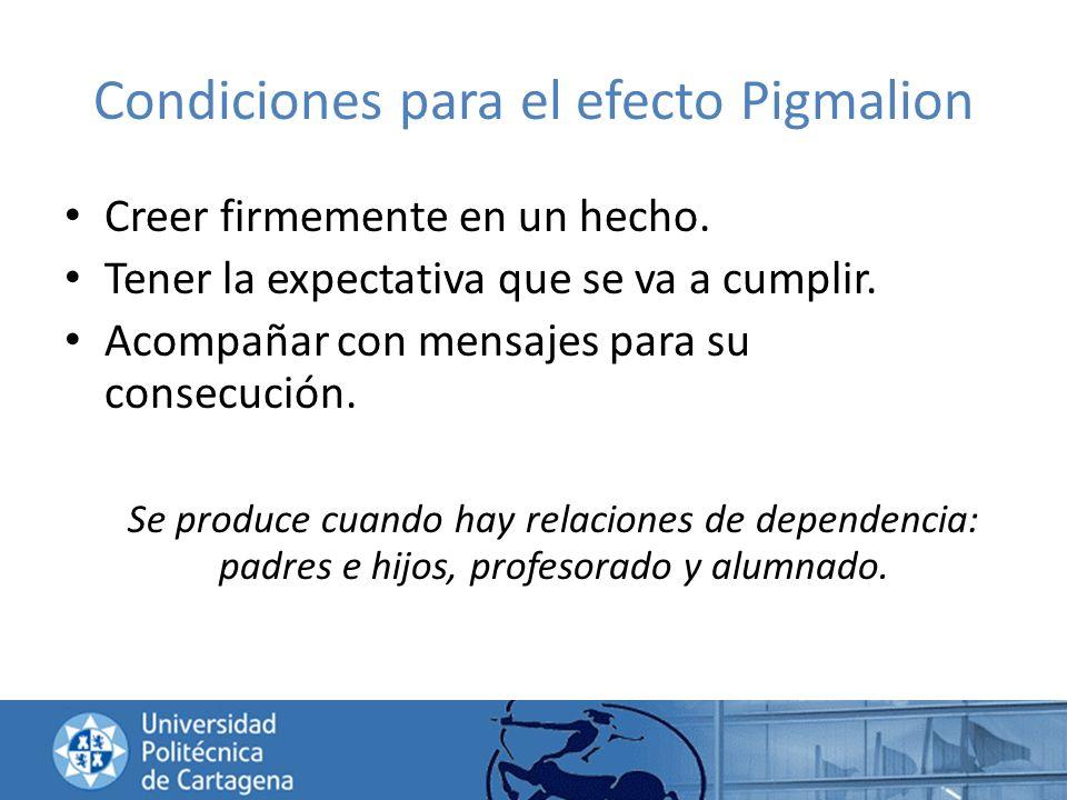 Condiciones para el efecto Pigmalion