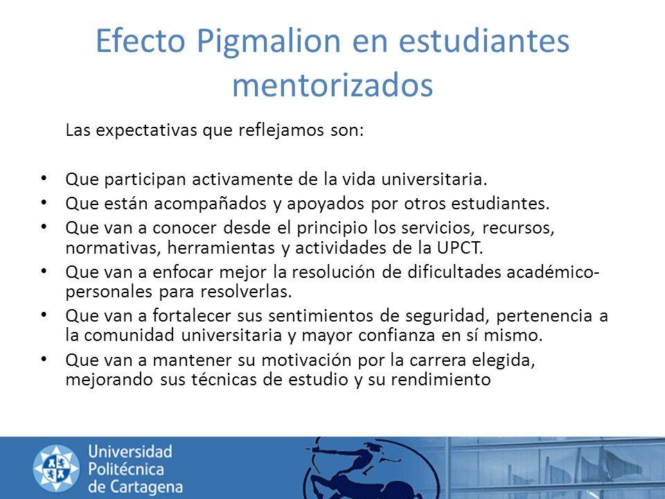 Efecto Pigmalion en estudiantes mentorizados