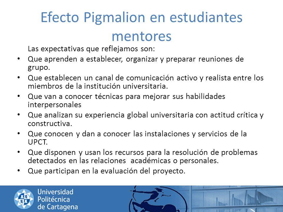 Efecto Pigmalion en estudiantes mentores