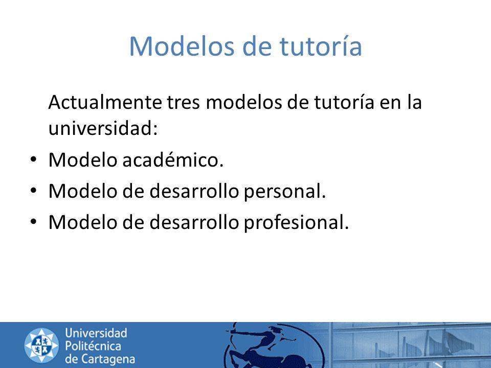 Modelos de tutoría Actualmente tres modelos de tutoría en la universidad: Modelo académico. Modelo de desarrollo personal.