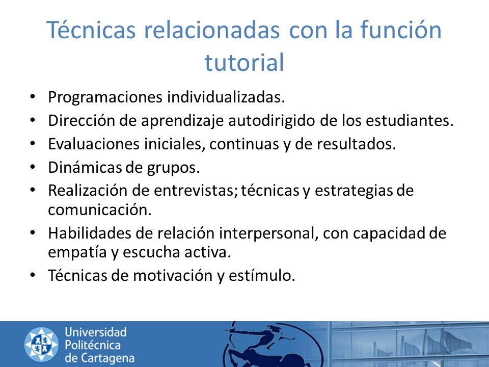 Técnicas relacionadas con la función tutorial