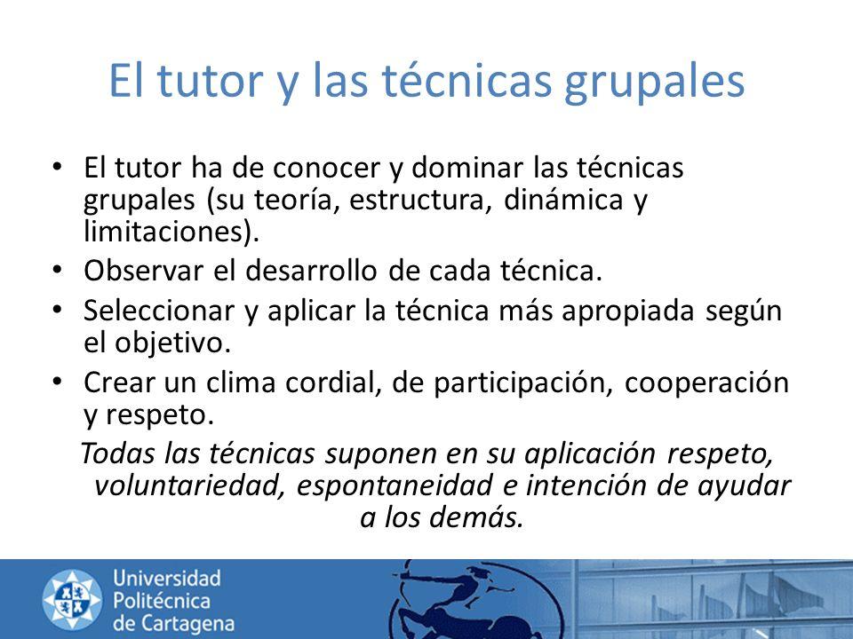 El tutor y las técnicas grupales