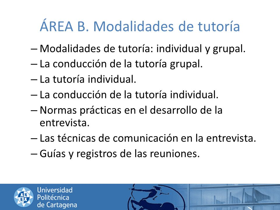 ÁREA B. Modalidades de tutoría