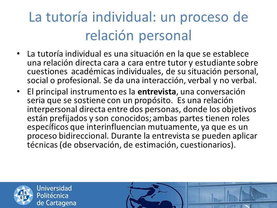 La tutoría individual: un proceso de relación personal