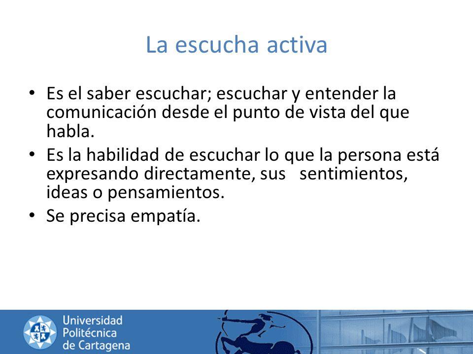 La escucha activa Es el saber escuchar; escuchar y entender la comunicación desde el punto de vista del que habla.