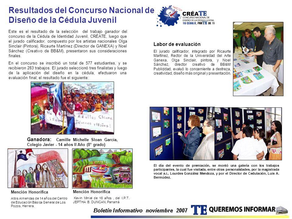 Resultados del Concurso Nacional de Diseño de la Cédula Juvenil