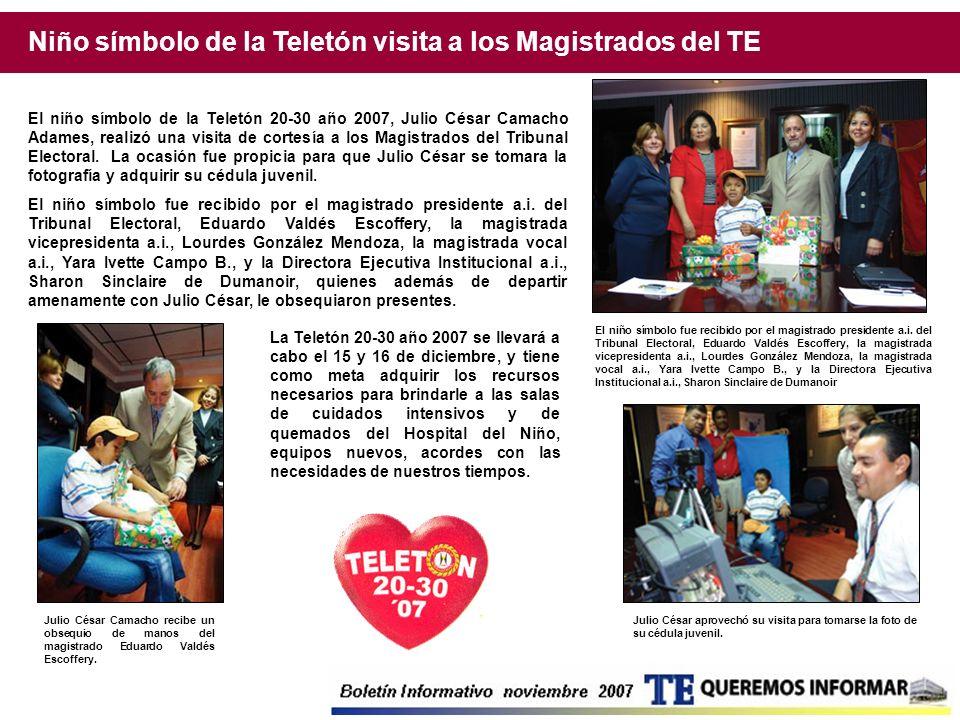 Niño símbolo de la Teletón visita a los Magistrados del TE