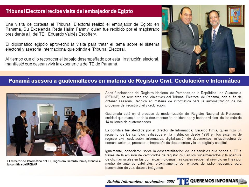 Tribunal Electoral recibe visita del embajador de Egipto
