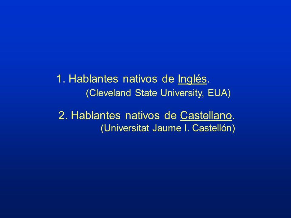 1. Hablantes nativos de Inglés. (Cleveland State University, EUA)