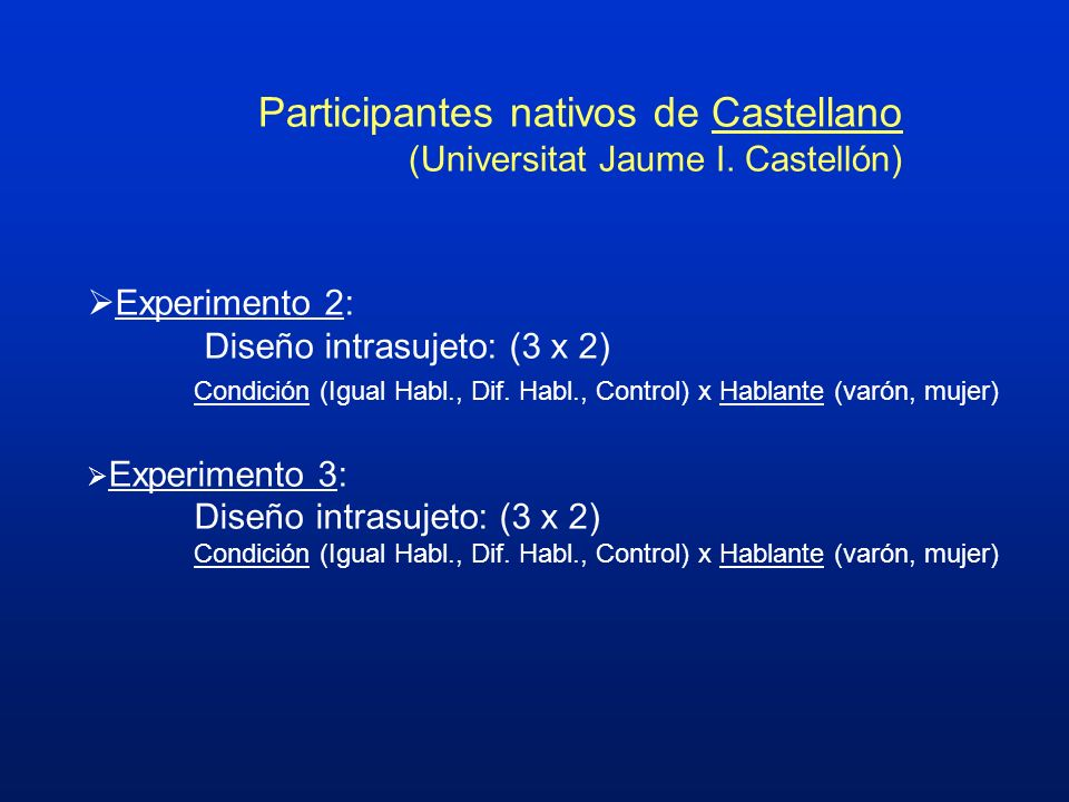 Participantes nativos de Castellano (Universitat Jaume I. Castellón)