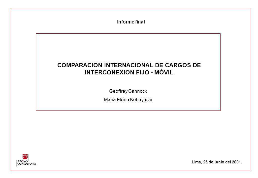 COMPARACION INTERNACIONAL DE CARGOS DE INTERCONEXION FIJO - MÓVIL