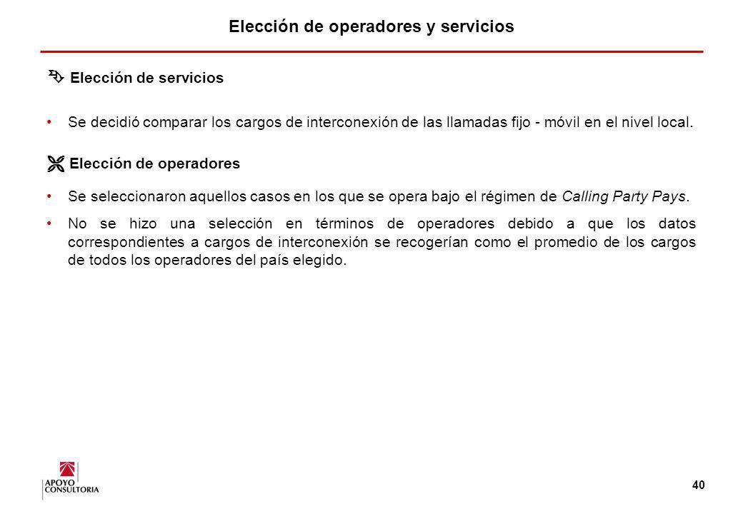 Elección de operadores y servicios
