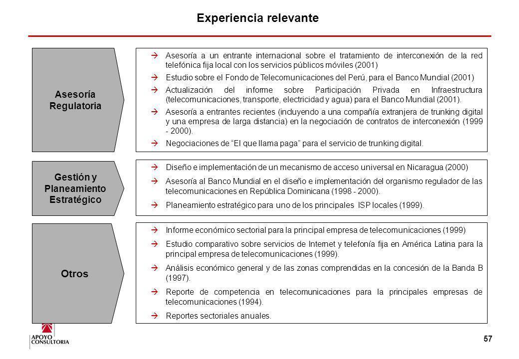 Experiencia relevante Gestión y Planeamiento Estratégico